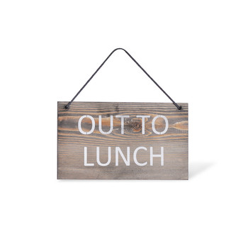 Wooden Hanging Sign - 'Out to Lunch'