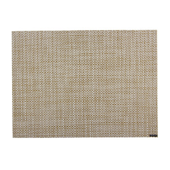 Basketweave Rectangle Placemat - White/Gold