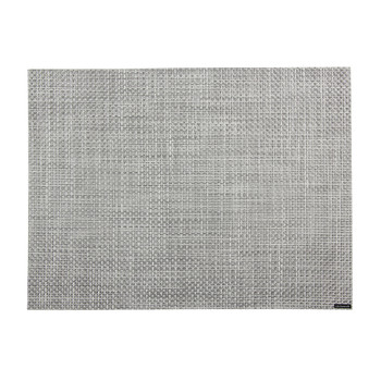 Basketweave Rectangle Placemat - White/Silver