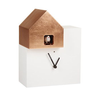 Short Ettore Clock - White/Copper