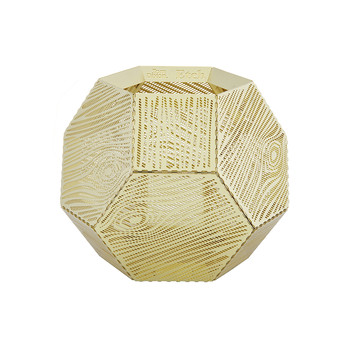 Etch Wood Effect Tealight Holder - Brass