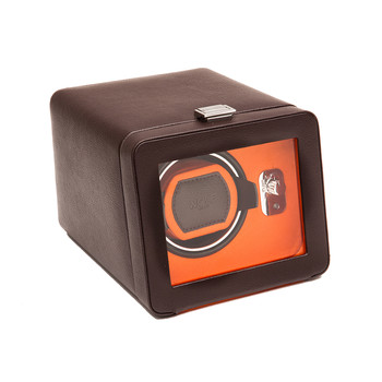 Windsor Single Watch Winder with Cover - Brown/Orange