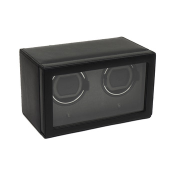 Double Cub Watch Winder with Cover - Black