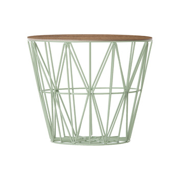 Medium Wire Basket - Mint with Smoked Oak Lid