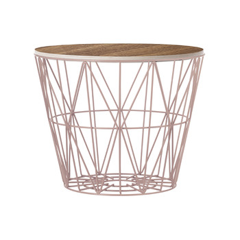 Medium Wire Basket - Rose with Smoked Oak Lid