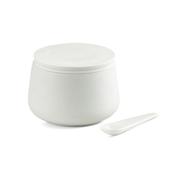 Nordic White Jar with Spoon