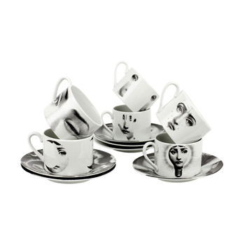 Tema e Variazioni 2005 Set of 6 Teacups - Black/White