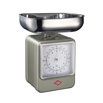 Retro Scale with Clock - New Silver