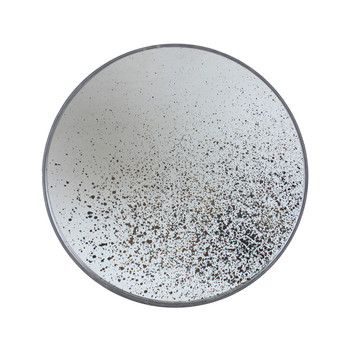 Large Round Aged Mirror - Light Clear