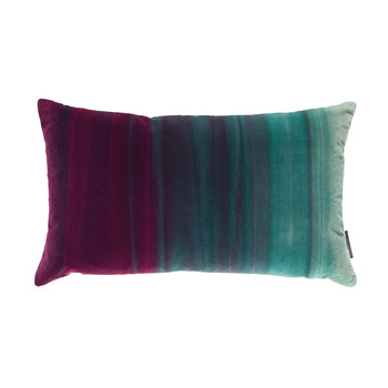Amazilia Velvet Cushion - 35x60cm - Lagoon / Raspberry