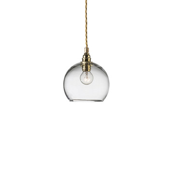 Rowan Pendant Lamp - Clear with Brass
