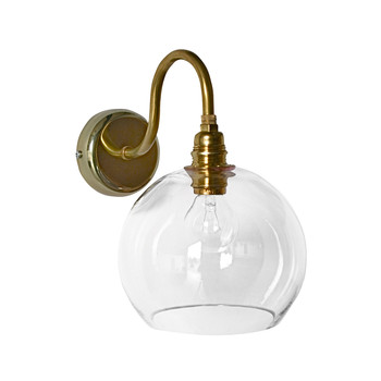 Rowan Wall Lamp - 15cm - Clear with Brass