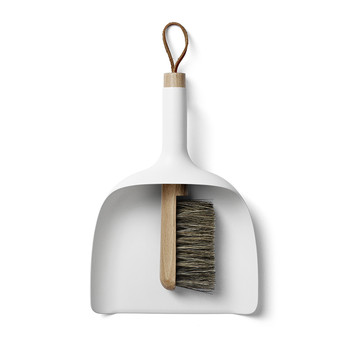 Dustpan & Brush with Funnel - White