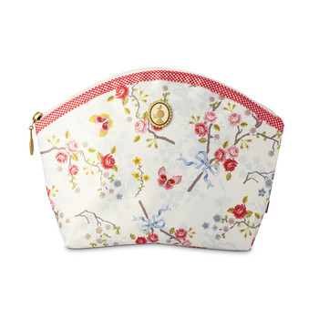 Chinese Rose - Medium Cosmetic Bag - White