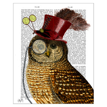 Owl With Top Hat Print