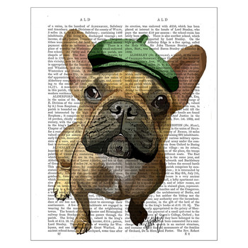 Brown French Bulldog With Green Hat Print