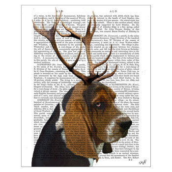 Basset Hound And Antlers Print