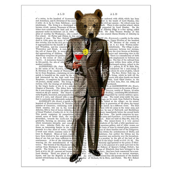 Bear With Cocktail Print