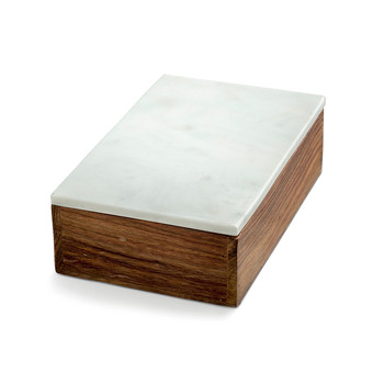 Wooden Box with White Marble Lid