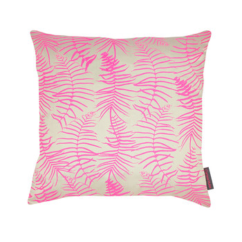Feather Fern Pillow - 45x45cm - Pebble/Neon