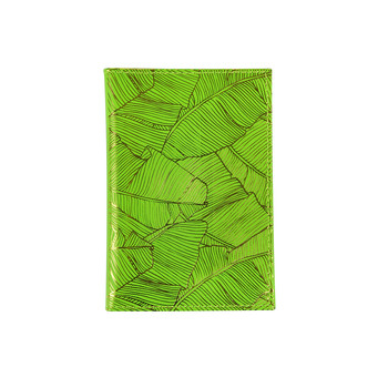 Leather Passport Holder - Fluorescent Green & Pineapple