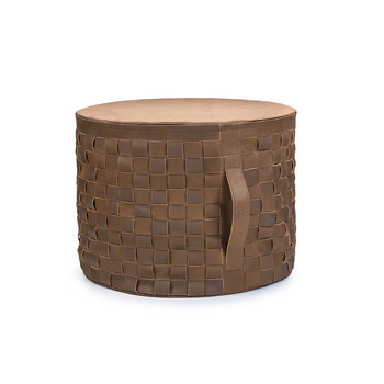 Woven Leather Pouf - Sugar Pine