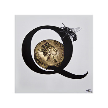 Queen Bee Letter Q Gold Tile