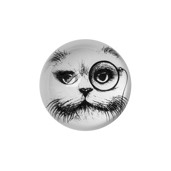 Domed Paperweight - Cat with Monocle