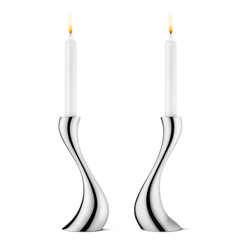 Cobra Stainless Steel Candle Holder - Medium - Set of 2