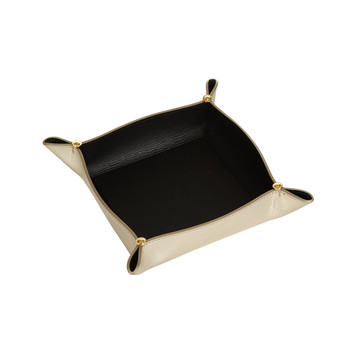 Leather Tray Bowl - Gold/Black
