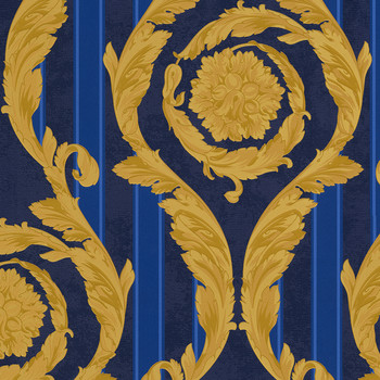 Barocco & Stripes Wallpaper - Navy/Gold - 93568-1