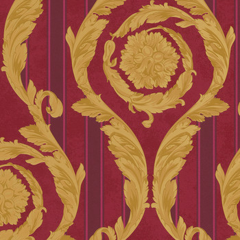 Barocco & Stripes Wallpaper - Red/Gold - 93568-3
