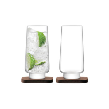 City Bar Long Drink Glass & Walnut Coaster - Set of 2
