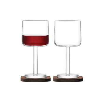 City Bar Red Wine Glass & Walnut Coaster - Set of 2