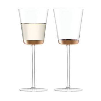 Edge White Wine Glass - Rose Gold - Set of 2