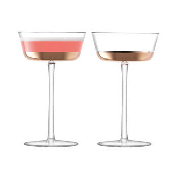 Edge Champagne Saucer - Rose Gold - Set of 2