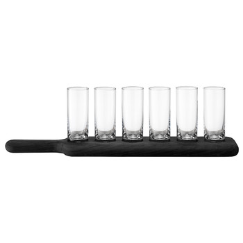 Paddle Vodka Set & Black Beech Paddle - Clear