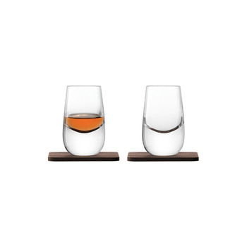Whiskey Islay Shot Glass & Walnut Coaster - Set of 2
