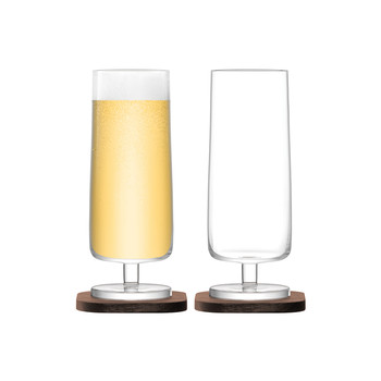 City Bar Lager Glass & Walnut Coaster - Set of 2