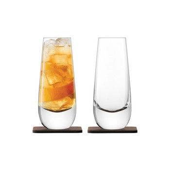 Whiskey Islay Mixer Glass & Walnut Coaster - Set of 2