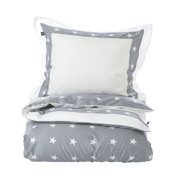 Star Border Duvet Cover - Grey
