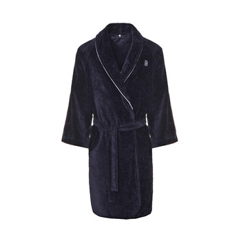 Navy Shawl Collar Bathrobe