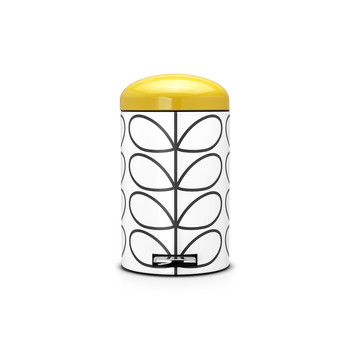 Orla Kiely Retro Pedal Bin - Cream Linear Stem with Yellow Lid
