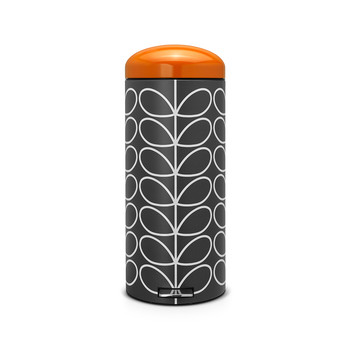 Orla Kiely Retro Pedal Bin - Charcoal Linear Stem with Orange Lid