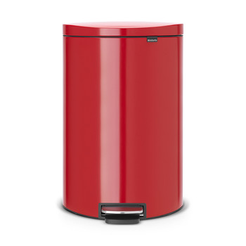 Flatback Space-Saving Pedal Bin - 40 Litres - Passion Red