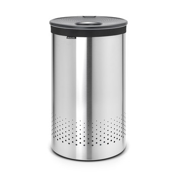 Laundry Bin - Matt Steel with Dark Grey Plastic Lid