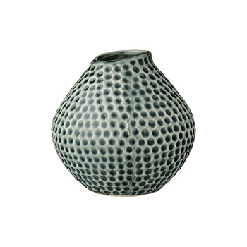 Ceramic Vase with Dotted Detail - Dark Green