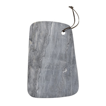 Marble Cutting Board with Leather Strap - Grey