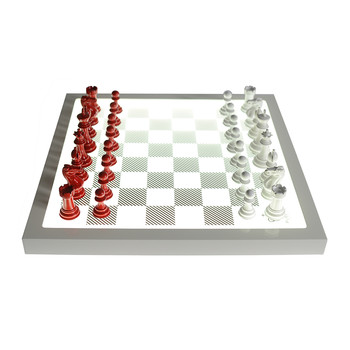 Dark Chess Set - Classic Red - v Gloss White