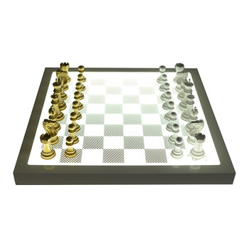 Dark Chess Set - Metallic Gold - v Gloss White